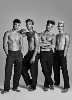 "Austrian Models (left to right) Julian Schneyder, Patrick Kafka, Domenique Melchior & Oliver Stummvoll at Wiener Model Management in ""#TeamWienerModels"" by Kosmas Pavlos for FTape - January 2015"