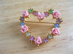 Romantic heart vintage Avon Brooch