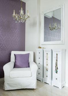 Like the lavender and bright white with the pale floors.