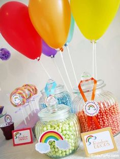 Rainbow birthday party candy! See more party planning ideas at CatchMyParty.com!