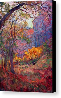 Zion Deep Canvas Print by Erin Hanson. All canvas prints are professionally printed, assembled, and shipped within 3 - 4 business days and delivered ready-to-hang on your wall. Choose from multiple print sizes, border colors, and canvas materials.