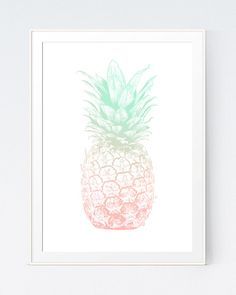 Pineapple Print Pineapple Art Mint and Coral Coral by SutilDesigns