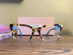 4164c2032928  Brand New  Miu Miu Designer Eyeglasses MU 04NV 7S01O1 Blonde Havana  amp   Teal