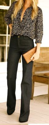 High waist pants + loose top = great business casual look.