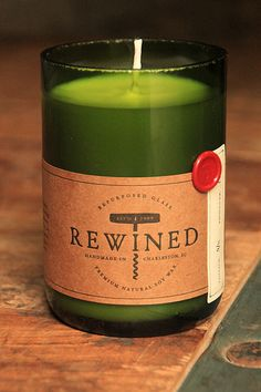 """""""Rewined"""" wine bottle candles!"""