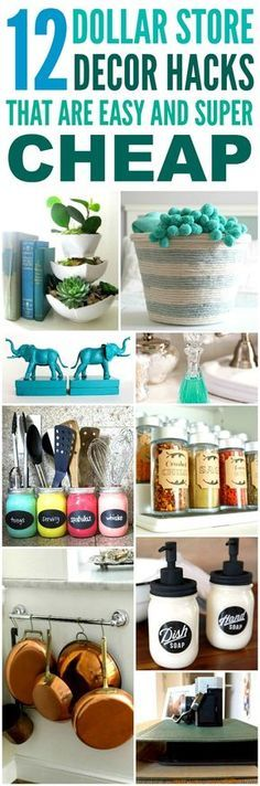 These 12 Dollar Store Decor Hacks are THE BEST! I'm so glad I found these AWESOME home decor ideas and tips! Now I have great ways to decorate my home a a budget and decorate on a dime! Definitely pinning!