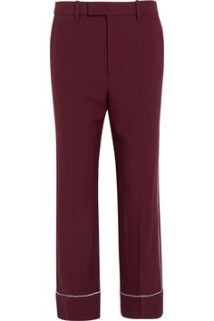 """""""We are all obsessed by Gucci right now. The runway burgundy suit with white piping firmly will be firmly in our wardrobes for fall. Split it up and wear the pants with a flat loafer and a chunky sweater, or a Mary Jane pump and blouse."""" – Sarah Rutson, Vice President of Global Buying #TheRutsonReport"""