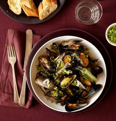 Steamed Mussels With Celery Leaves.