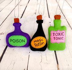 Halloween ornamento poción mágica botella veneno bruja hechizo