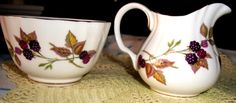 Vintage CREAM & SUGAR, Royal Worcester ARDEN Pattern Dated 1974, Fine English Bone China, Gorgeous Fruit Design