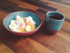 Set of terracota and green #pottery #ceramics #ceramic #handmade #breakfast #coffee #fruits by entornoceramica
