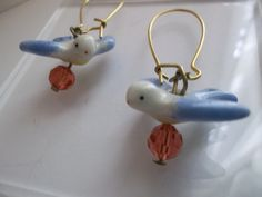 Vintage Ceramic Porcelain Blue Bird Earrings/ French Wire Style Earrings/ Bird Dangle Earrings/ Bird DROP Style Earrings. $16.00, via Etsy.