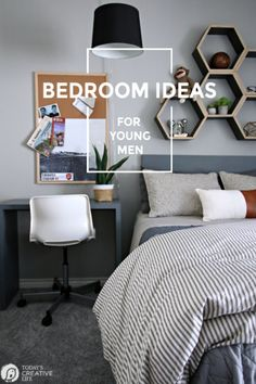how to decorate grey bedroom - Internal Home Design Boys Bedroom Decor, Gray Bedroom, Bedroom Wall, Bedroom Ideas, Men Bedroom, Grey Bedroom Design, Young Adult Bedroom, Home Design, Design Room