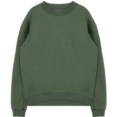 Side Slit Sweatshirt (686.530 VND) ❤ liked on Polyvore featuring tops, hoodies, sweatshirts, loose fit tops, loose fitting tops, long sleeve tops, side slit top and green sweatshirt