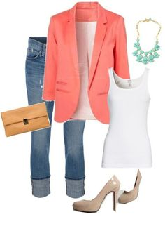 worn cuffed jeans, white tank, coral blazer, turquoise bauble necklace, camel clutch, nude heels