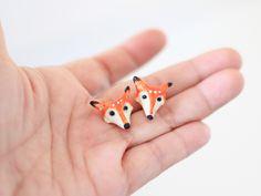 Fox polymer clay earrings _ creative earrings by PearlCatCat