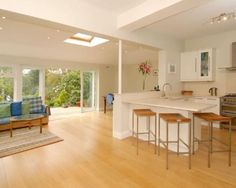 photo of open plan beige orange and bar stools Kitchen Extension Layout, Open Plan, Property For Sale, Bar Stools, Beige, Orange, Room, Furniture, Home Decor