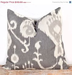 SALE, ENDS SOON Gray Ikat Pillow Cover, Decorative Bed Pillows, Toss Pillow Cases, 16 x 16