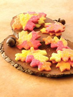 Fresh Fall Leaves (Sugar Cookies, That is) from Land O Lakes....divide sugar cookie dough and add food coloring, roll different colors together and cut out shapes....how easy!!!