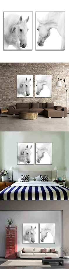 Posters and Prints 41511: Youkuart Qy0088 Canvas Wall Art White Horses Picture Painting On Canvas Print -> BUY IT NOW ONLY: $43.95 on eBay!