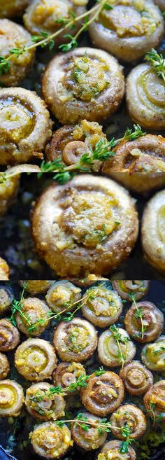 Buttery roasted mushrooms with garlic, thyme and breadcrumbs. A healthy and easy side dish | rasamalaysia.com