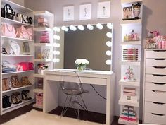 A makeup vanity table with lights is all you need to feel like a true Hollywood star. Even if you simply getting ready for work. What do you think?