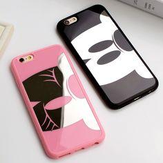 Lussuoso mickey minnie tpu caso dello specchio per iphone 6 6 s 7 plus 5 5 s se back cover per iphone 6 6 s 7 più casi coque Fundas