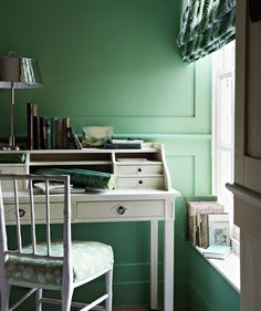 When a room—no matter how small—has some architectural detail, then a little color will go a long way. A surprising shot of spearmint green gives this space a more sophisticated twist.