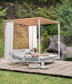 Pavilion Daybed with a white powder-coated aluminium frame, roof + rear wall in teak and curtains in Sunbrella Velum. Daybed Outdoor, Outdoor Lounge, Outdoor Spaces, Outdoor Living, Outdoor Decor, Backyard Cabana, Outdoor Cabana, Backyard Patio Designs, Rooftop Terrace Design