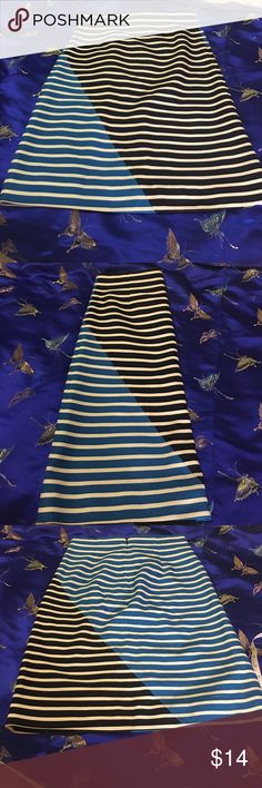 Cute J. Crew Skirt Cute J. Crew Striped Skirt. Size 6. Colors are shades of blue and white. Lined. Measurements approximately as follows: waist 15 inches; hips 19 inches; length 23.5 inches. Shell 100% Cotton/ Lining 109% Polyester. In good preowned condition with 2 runs noted in the fabric on the front of the shirt please see photo 4. Please ask all questions prior to making an offer or purchase. Thanks for looking! J. Crew Skirts Midi