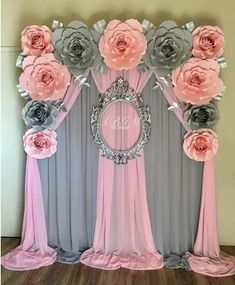 A full view of this lovely flower backdrop baby elephant theme🌸💖 babyshower paperflowers babyshowerideas itsagirl babygirl… Shower Party, Baby Shower Parties, Baby Shower Themes, Baby Shower Decorations, Bridal Shower, Decoration Evenementielle, Backdrop Decorations, Backdrop Ideas, Paper Decorations