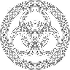 ԑ̮̑♦̮̑ɜ~Mandala para Colorear~ԑ̮̑♦̮̑ɜ A biohazard symbol in knotwork to print and color in jpg and transparent PNG format Celtic Tribal, Celtic Art, Celtic Dragon, Coloring Book Pages, Printable Coloring Pages, Gravure Metal, Celtic Knot Designs, Celtic Symbols, Celtic Knots