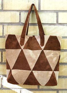 triangle patchwork suede tote bag diy
