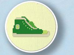 Green Sneaker Cross Stitch PDF Pattern by andwabisabi on Etsy, $3.00