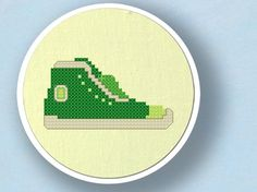 Green Sneaker Cross Stitch PDF Pattern by andwabisabi on Etsy, $3.00