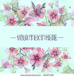 Greeting card with flower, colorful floral background, can be used as invitation card. - stock vector