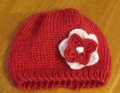 Stockinette Flower Baby Beanie : free pattern