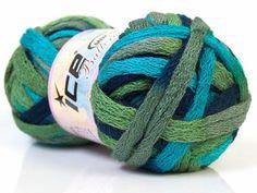 Ballerina ICE ruffle scarf knit yarn turquoise by specialyarnshop, $8.50