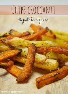 Chips croccanti e speziate di patate e zucca al forno