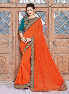 Orange Georgette Patch Lace Work Saree 88467