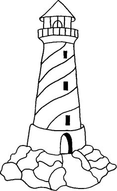 Drawings of lighthouse. Pictures of lighthouse in the sea for coloring. Free Coloring Sheets, Coloring Pages To Print, Coloring Book Pages, Beach Coloring Pages, Stained Glass Patterns, Mosaic Patterns, Lighthouse Painting, Lighthouse Decor, Applique Patterns