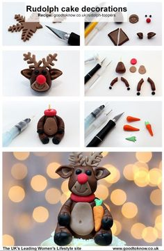 Make your cupcakes extra special this Christmas with these cute Rudolph the Reindeer cake toppers! Christmas Cupcakes - Fondant Fun or Clay (of course don't eat clay) Christmas Cake Designs, Christmas Cake Topper, Christmas Cake Decorations, Christmas Cupcakes, Holiday Cakes, Xmas Cakes, Holiday Desserts, Fondant Toppers, Fondant Cakes