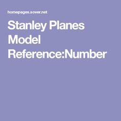 Stanley Planes Model Reference:Number