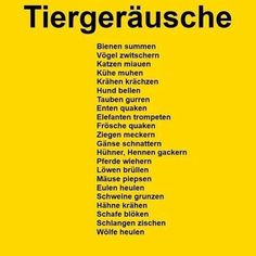 German vocabulary - The sounds animals make Foreign Language Teaching, German Language Learning, Dual Language, German Grammar, German Words, Learn German, Learn English, Learn French, German Resources