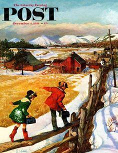 Walking On The Fence by John Clymer, Dec. 4, 1954, The Saturday Evening Post.