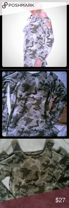NWT  Scoop neck Long Sleeves w/Ladder detail Trendy Camo With a twist!  Ladder detail along the sleeve but modestly  Very soft and a must have Pink Republic Tops Tees - Long Sleeve