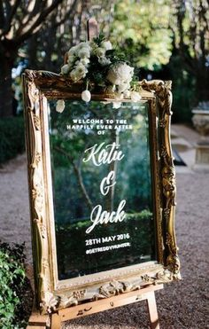 vintage wedding welcome sign with gold frame