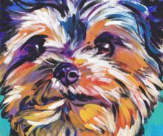 """**Please click the """"zoom"""" tool to see this photo larger** An original painting by me, Sandra Spencer. I love dogs showing a playful side, its my Yorkshire Terrier, Yorkie Dogs, Yorkies, Gif Animé, High Art, Arte Pop, Illustrations, Dog Portraits, Animal Paintings"""