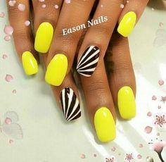 Neon Yellow Nail Designs Gallery black and white accent nails to bright yellow polish nail Neon Yellow Nail Designs. Here is Neon Yellow Nail Designs Gallery for you. Get Nails, Fancy Nails, Trendy Nails, Love Nails, How To Do Nails, Yellow Nails Design, Yellow Nail Art, Neon Yellow Nails, Colorful Nail Designs