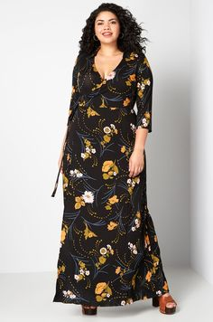 Black Floral Maxi Wrap Dress Plus Size With Length Sleeves. Colorful black floral print length sleeve wrap maxi dress plus size. Plus Size Fashion Dresses, Plus Size Maxi Dresses, Plus Size Outfits, Maxi Wrap Dress, Maxi Dress With Sleeves, Short Sleeve Dresses, Wrap Dresses, Occasion Maxi Dresses, Special Occasion Dresses
